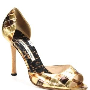 Manolo Blahnik Gold Mosaic Leather Pumps - Sz 39.5